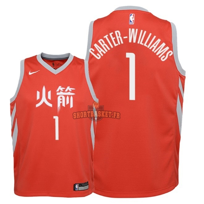 Nouveau Maillot NBA Enfant Houston Rockets NO.1 Michael Carter Williams Nike Rouge Ville 2018 pas cher