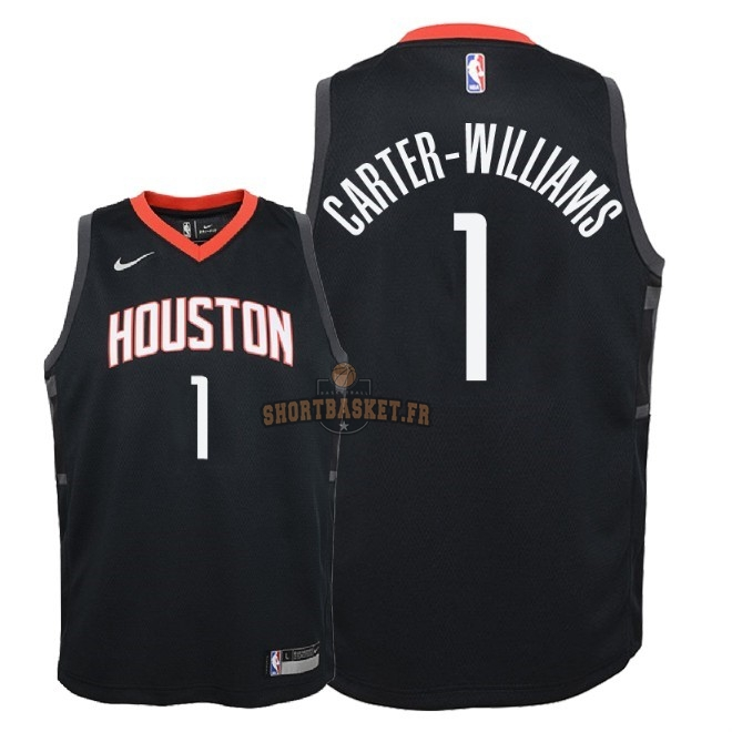 Nouveau Maillot NBA Enfant Houston Rockets NO.1 Michael Carter Williams Noir Statement 2018 pas cher