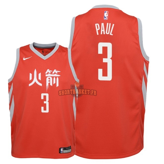 Nouveau Maillot NBA Enfant Houston Rockets NO.3 Chris Paul Nike Rouge Ville 2018-19 pas cher