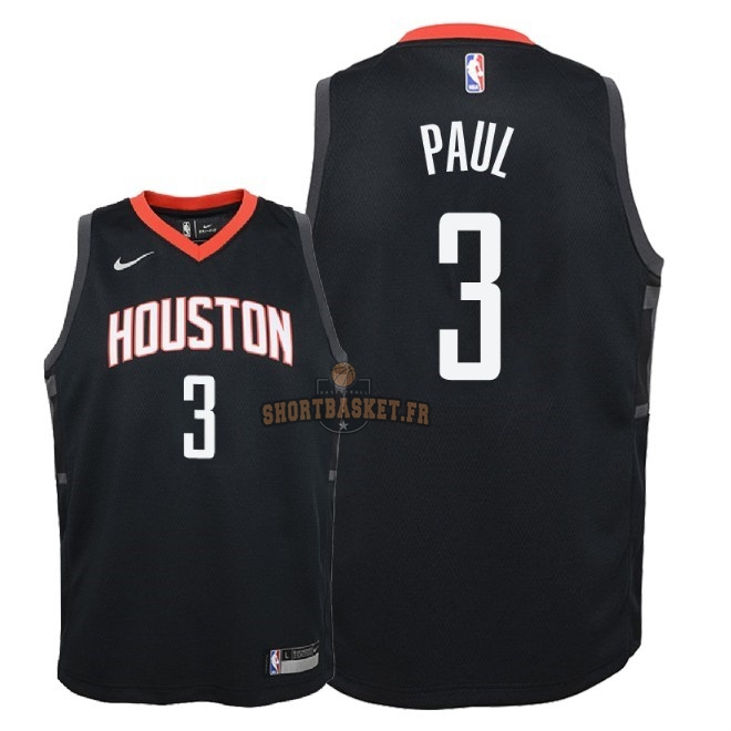 Nouveau Maillot NBA Enfant Houston Rockets NO.3 Chris Paul Noir Statement 2018-19 pas cher