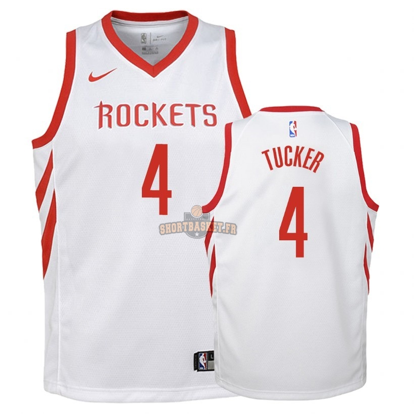 Nouveau Maillot NBA Enfant Houston Rockets NO.4 P.J. Tucker Blanc Association 2018 pas cher