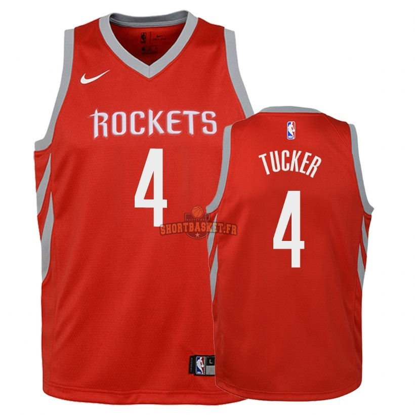 Nouveau Maillot NBA Enfant Houston Rockets NO.4 P.J. Tucker Rouge Icon 2018 pas cher