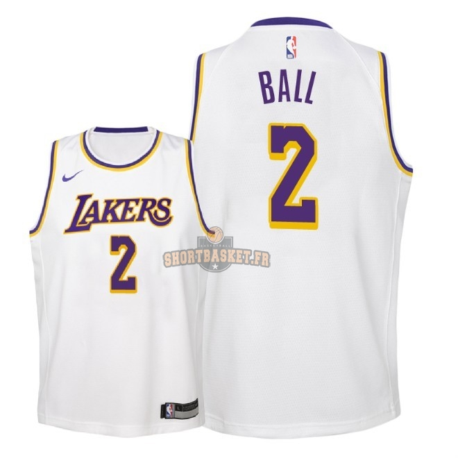 6d963c9b778 Nouveau Maillot NBA Enfant Los Angeles Lakers NO.2 Lonzo Ball Blanc  Association 2018-