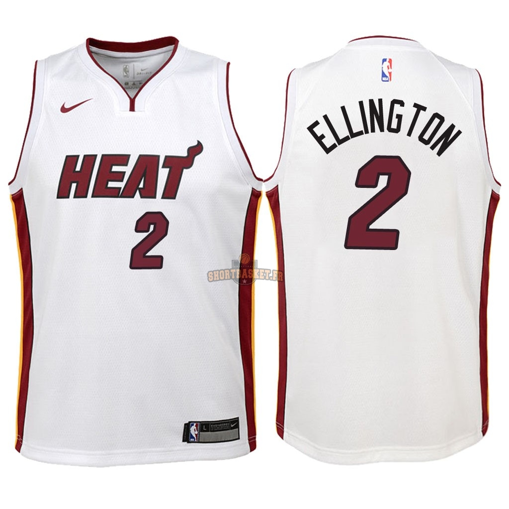Nouveau Maillot NBA Enfant Miami Heat NO.2 Wayne Ellington Blanc Association 2018 pas cher