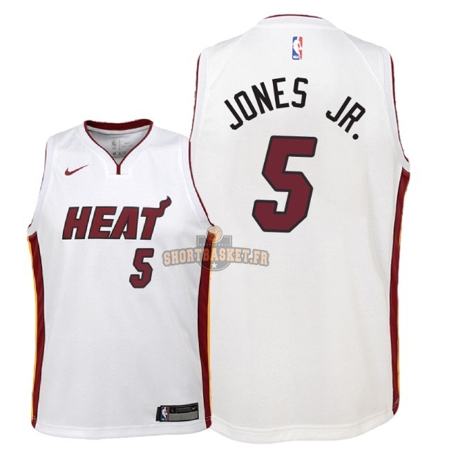 Nouveau Maillot NBA Enfant Miami Heat NO.5 Derrick Jones Jr Blanc Association 2018 pas cher