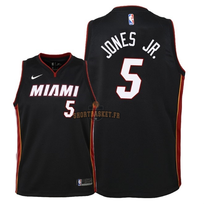 Nouveau Maillot NBA Enfant Miami Heat NO.5 Derrick Jones Jr Noir Icon 2018 pas cher