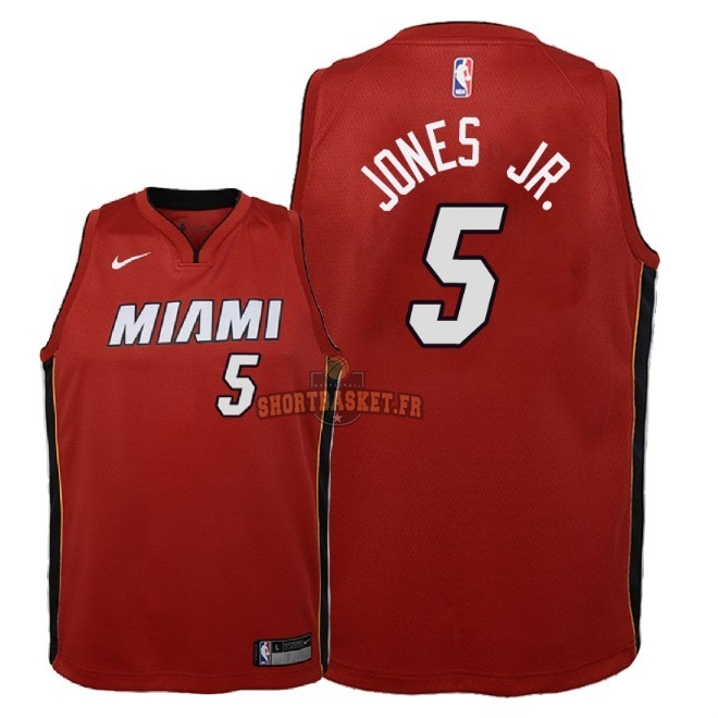 Nouveau Maillot NBA Enfant Miami Heat NO.5 Derrick Jones Jr Rouge Statement 2018 pas cher