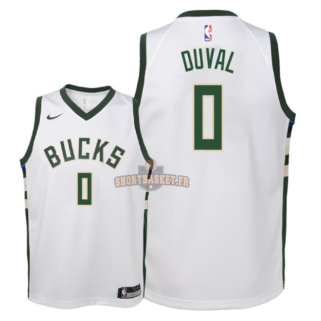 Nouveau Maillot NBA Enfant Milwaukee Bucks NO.0 Trevon Duval Blanc Association 2018-19 pas cher