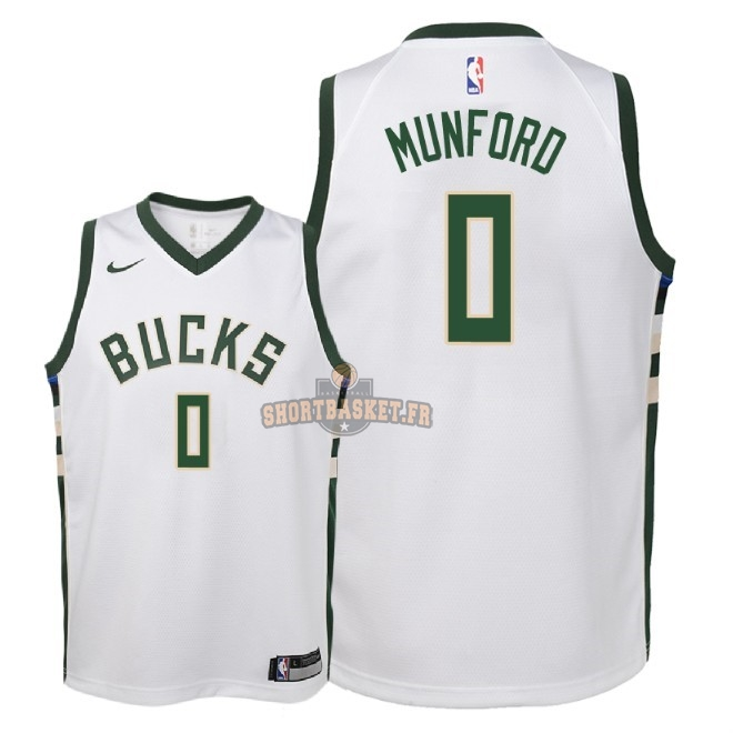 Nouveau Maillot NBA Enfant Milwaukee Bucks NO.0 Xavier Munford Blanc Association 2018 pas cher