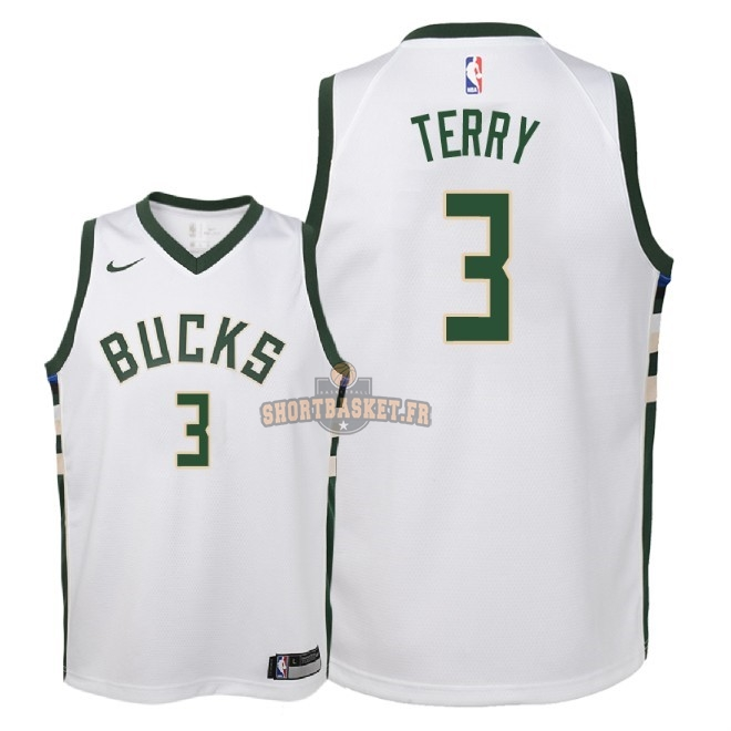 Nouveau Maillot NBA Enfant Milwaukee Bucks NO.3 Jason Terry Blanc Association 2018 pas cher