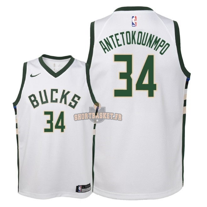 Nouveau Maillot NBA Enfant Milwaukee Bucks NO.34 Giannis Antetokounmpo Blanc Association 2018 pas cher
