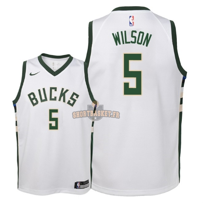 Nouveau Maillot NBA Enfant Milwaukee Bucks NO.5 D.J. Wilson Blanc Association 2018 pas cher