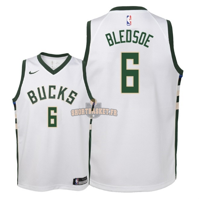 Nouveau Maillot NBA Enfant Milwaukee Bucks NO.6 Eric Bledsoe Blanc Association 2018 pas cher