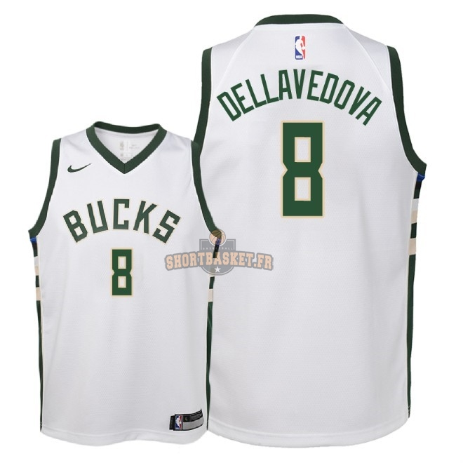 Nouveau Maillot NBA Enfant Milwaukee Bucks NO.8 Matthew Dellavedova Blanc Association 2018 pas cher