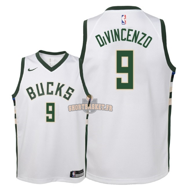 Nouveau Maillot NBA Enfant Milwaukee Bucks NO.9 Donte DiVincenzo Blanc Association 2018 pas cher