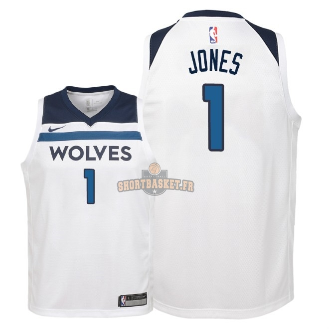 Nouveau Maillot NBA Enfant Minnesota Timberwolves NO.1 Tyus Jones Blanc Association 2018 pas cher