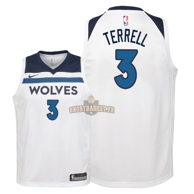 Nouveau Maillot NBA Enfant Minnesota Timberwolves NO.3 Jared Terrell Blanc Association 2018 pas cher