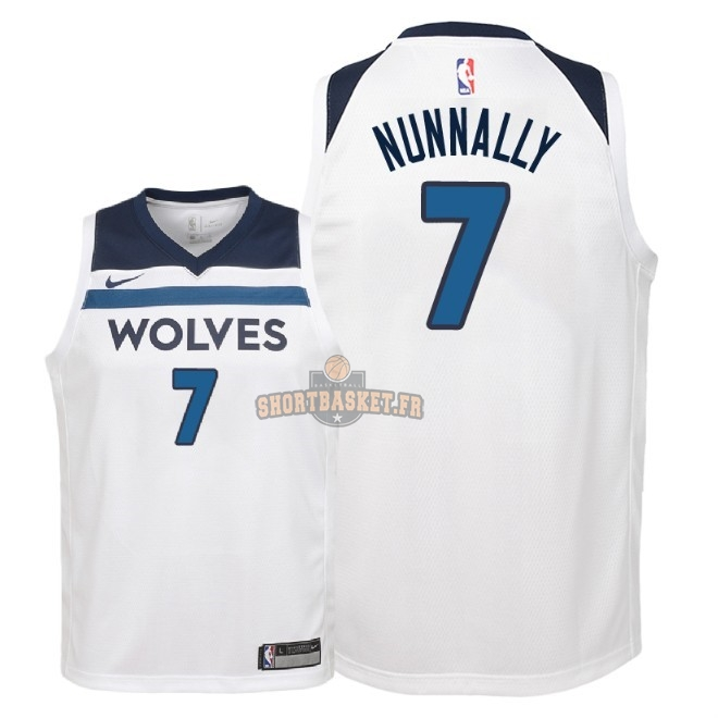 Nouveau Maillot NBA Enfant Minnesota Timberwolves NO.7 James Nunnally Blanc Association 2018 pas cher