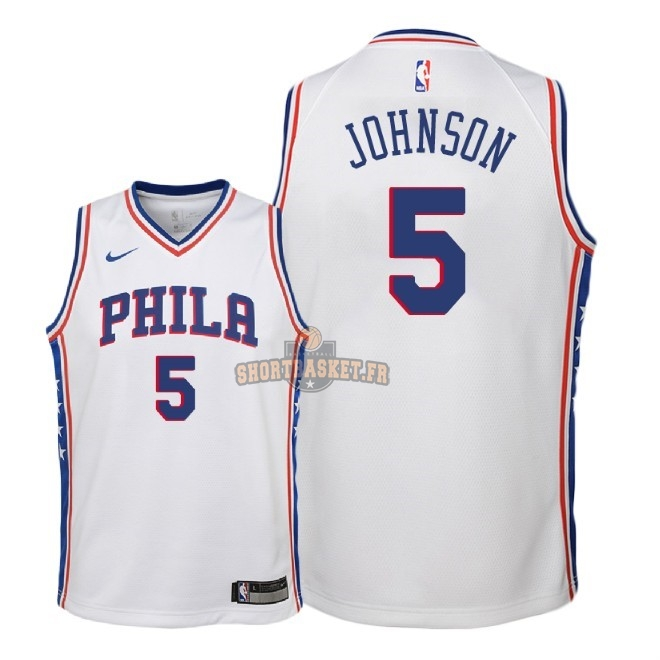 Nouveau Maillot NBA Enfant Philadelphia Sixers NO.5 Amir Johnson Blanc Association 2018 pas cher