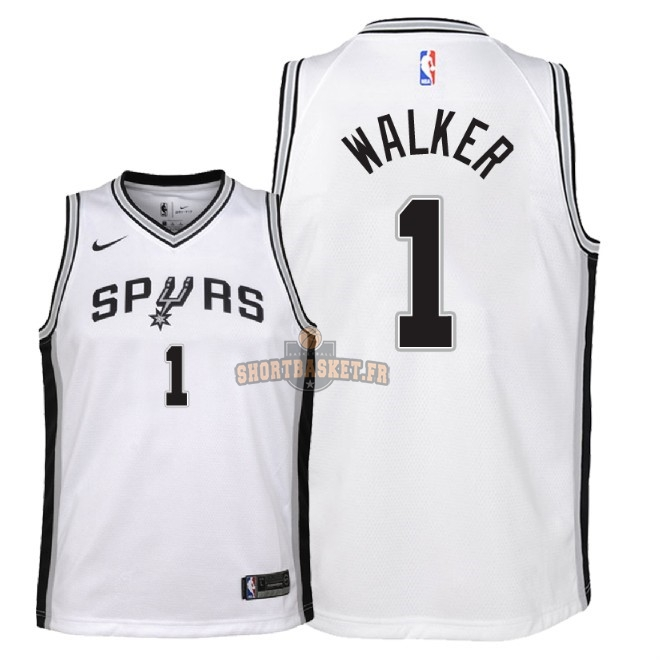 Nouveau Maillot NBA Enfant San Antonio Spurs NO.1 Lonnie Walker Blanc Association 2018 pas cher