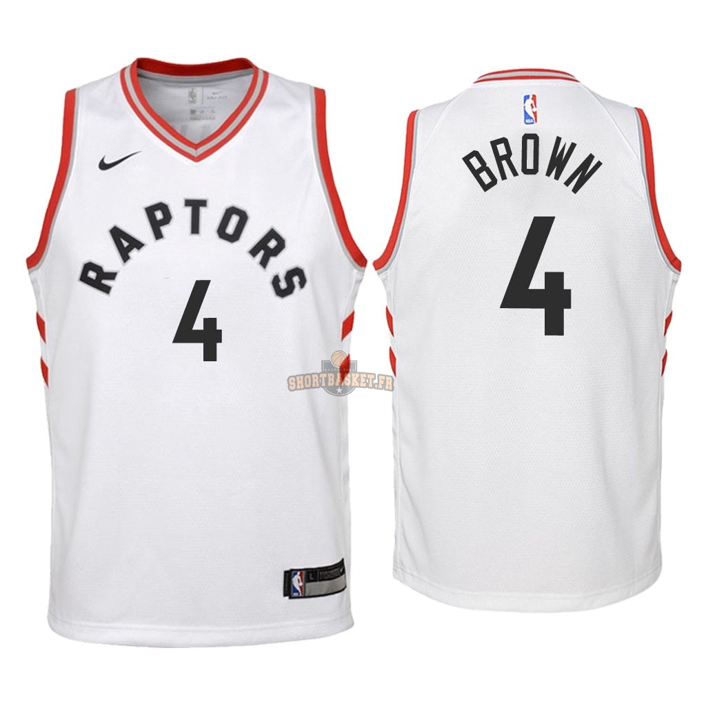 Nouveau Maillot NBA Enfant Toronto Raptors NO.4 Lorenzo Brown Blanc Association 2018 pas cher