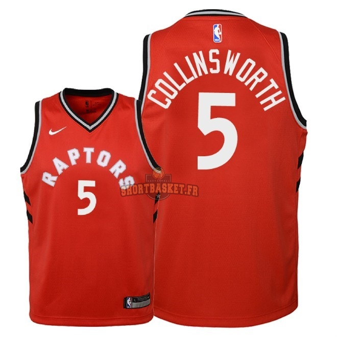 Nouveau Maillot NBA Enfant Toronto Raptors NO.5 Kyle Collinsworth Rouge Icon 2018 pas cher