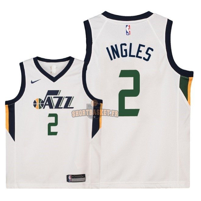 Nouveau Maillot NBA Enfant Utah Jazz NO.2 Joe Ingles Blanc Association 2018 pas cher
