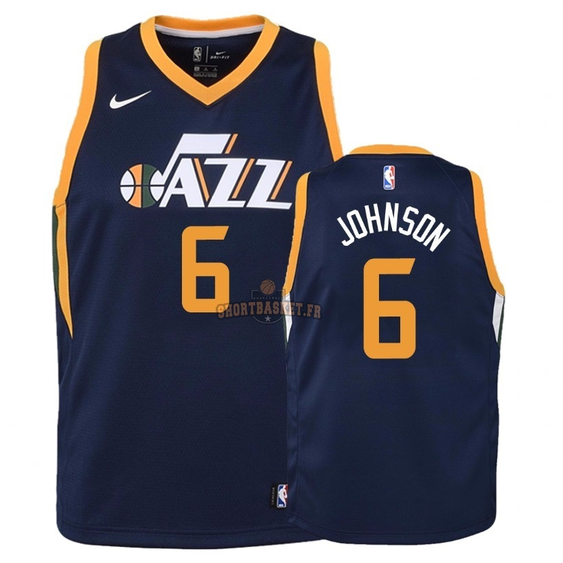 Nouveau Maillot NBA Enfant Utah Jazz NO.6 Joe Johnson Marine Icon 2018 pas cher