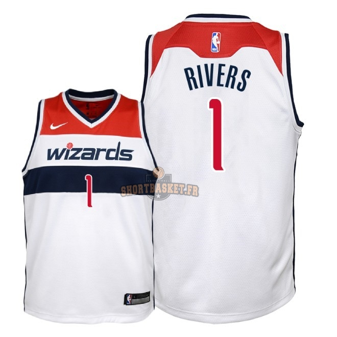 Nouveau Maillot NBA Enfant Washington Wizards NO.1 Austin Rivers Blanc Association 2018 pas cher