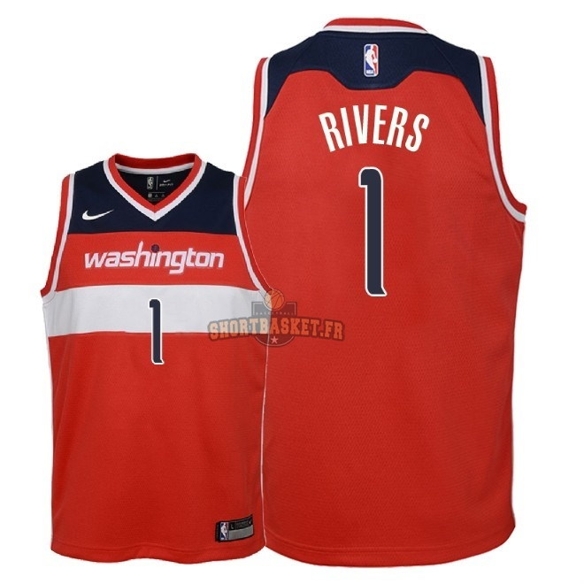 Nouveau Maillot NBA Enfant Washington Wizards NO.1 Austin Rivers Rouge Icon 2018 pas cher