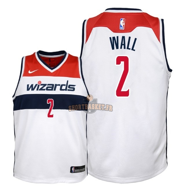 Nouveau Maillot NBA Enfant Washington Wizards NO.2 John Wall Blanc Association 2018 pas cher