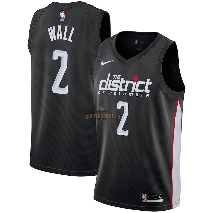 Nouveau Maillot NBA Enfant Washington Wizards NO.2 John Wall Nike Noir Ville 2018-19 pas cher