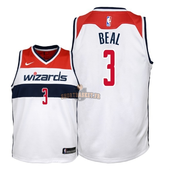 Nouveau Maillot NBA Enfant Washington Wizards NO.3 Bradley Beal Blanc Association 2018 pas cher