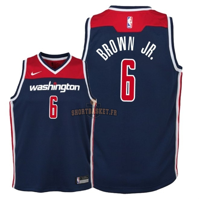 Nouveau Maillot NBA Enfant Washington Wizards NO.6 Troy Brown Jr Marine Statement 2018 pas cher