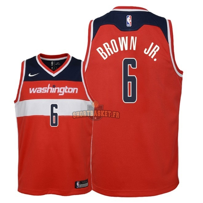 Nouveau Maillot NBA Enfant Washington Wizards NO.6 Troy Brown Jr Rouge Icon 2018 pas cher