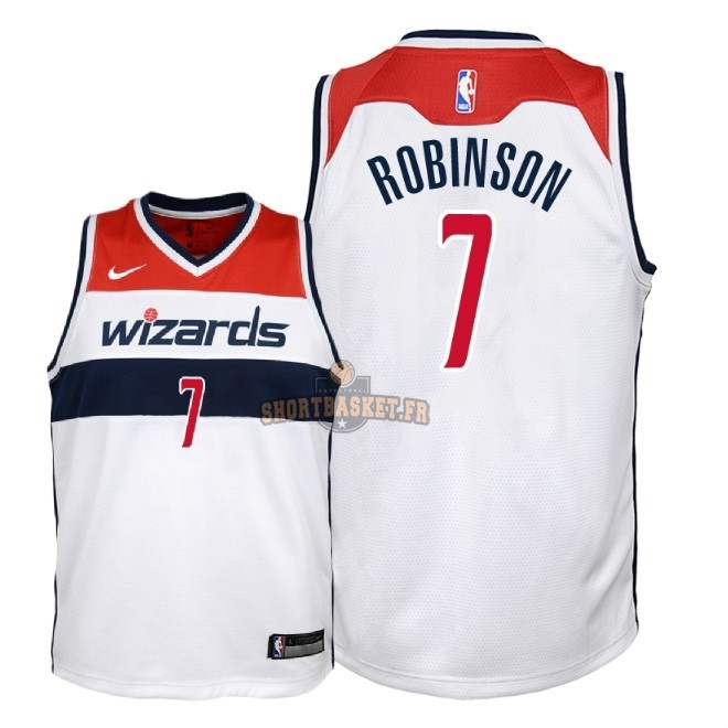 Nouveau Maillot NBA Enfant Washington Wizards NO.7 Devin Robinson Blanc Association 2018 pas cher