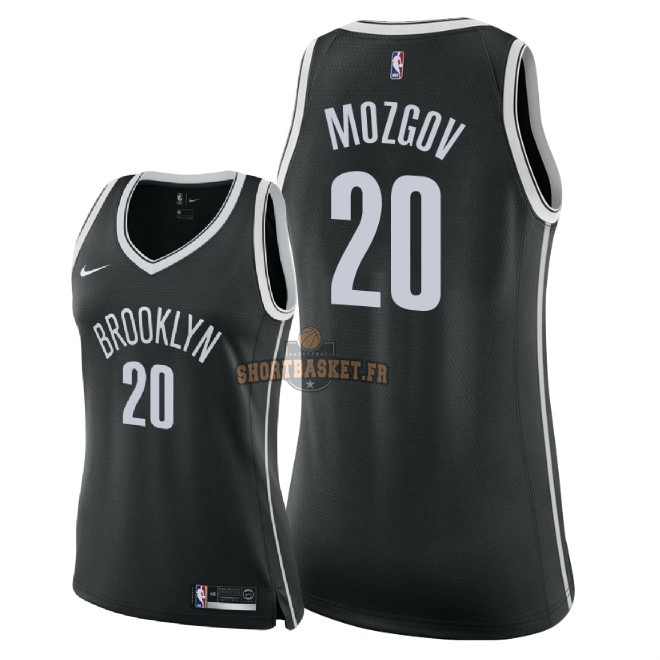Nouveau Maillot NBA Femme Brooklyn Nets NO.20 Timofey Mozgov Noir Icon 2018 pas cher