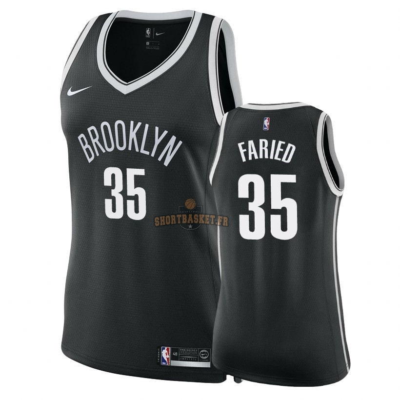Nouveau Maillot NBA Femme Brooklyn Nets NO.35 Kenneth Faried Noir Icon 2018 pas cher