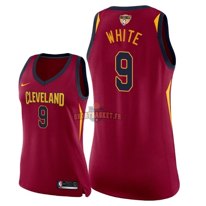 Nouveau Maillot NBA Femme Cleveland Cavaliers 2018 Final Champions NO.9 Okaro White Rouge Icon Patch pas cher