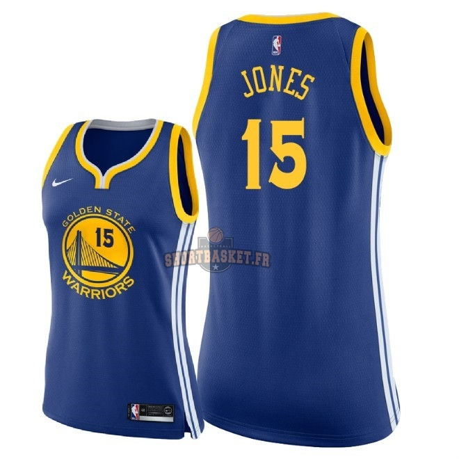 Nouveau Maillot NBA Femme Golden State Warriors NO.15 Damian Jones Bleu Icon 2018 pas cher