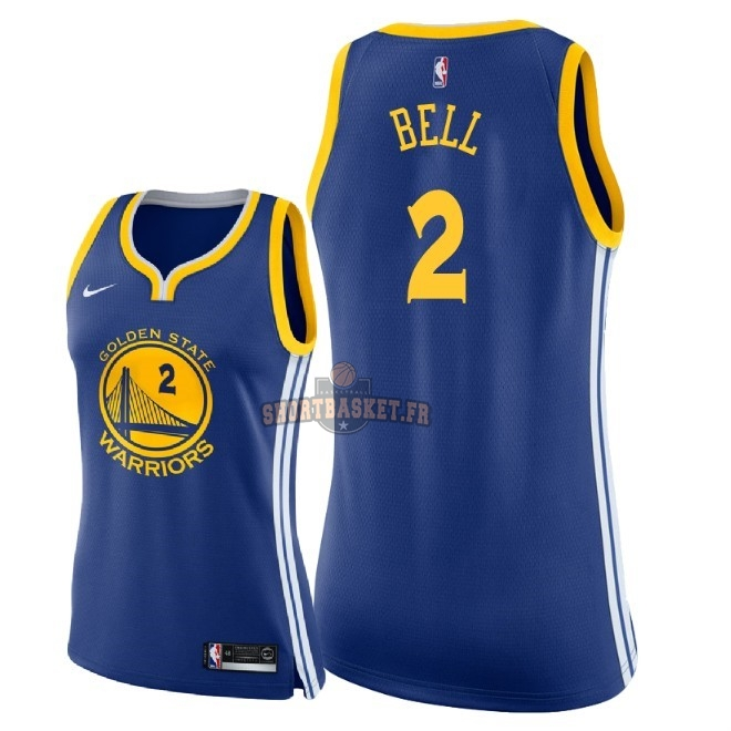Nouveau Maillot NBA Femme Golden State Warriors NO.2 Jordan Bell Bleu Icon 2018 pas cher