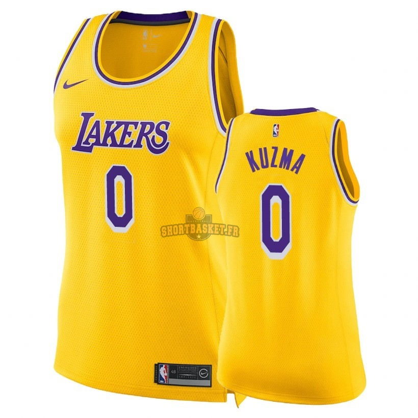 Nouveau Maillot NBA Femme Los Angeles Lakers NO.0 Kyle Kuzma Jaune Icon 2018-19 pas cher