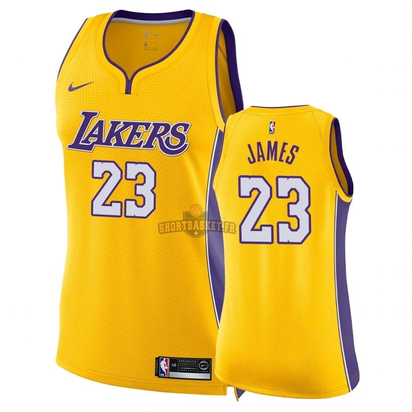 Nouveau Maillot NBA Femme Los Angeles Lakers NO.23 LeBron James Jaune Icon 2018 pas cher