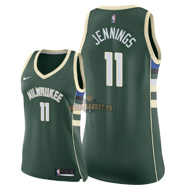 Nouveau Maillot NBA Femme Milwaukee Bucks NO.11 Brandon Jennings Vert Icon 2018 pas cher