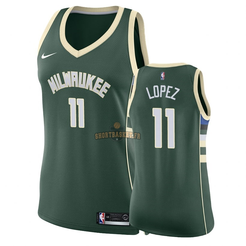 Nouveau Maillot NBA Femme Milwaukee Bucks NO.11 Brook Lopez Vert Icon 2018 pas cher