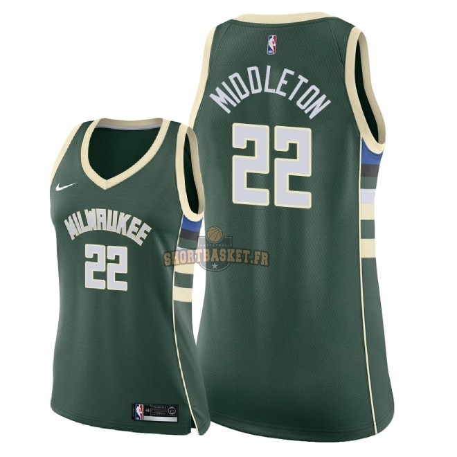 Nouveau Maillot NBA Femme Milwaukee Bucks NO.22 Khris Middleton Vert Icon 2018 pas cher