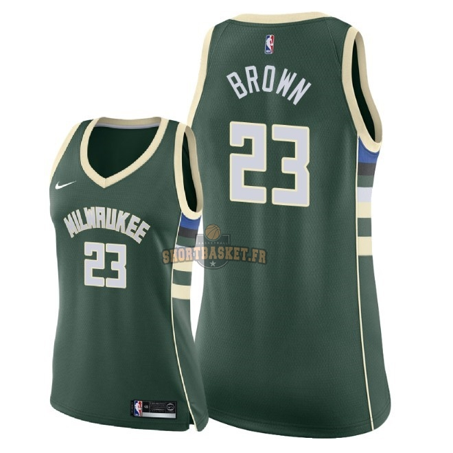 Nouveau Maillot NBA Femme Milwaukee Bucks NO.23 Sterling Brown Vert Icon 2018 pas cher