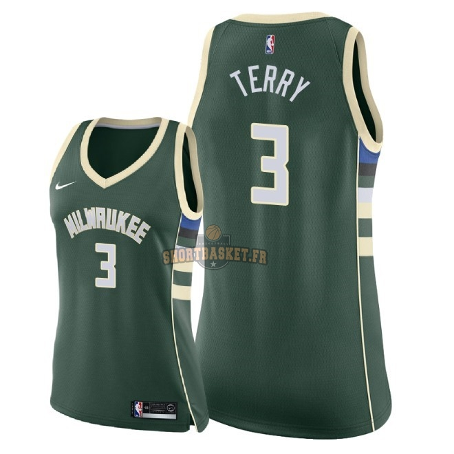 Nouveau Maillot NBA Femme Milwaukee Bucks NO.3 Jason Terry Vert Icon 2018 pas cher