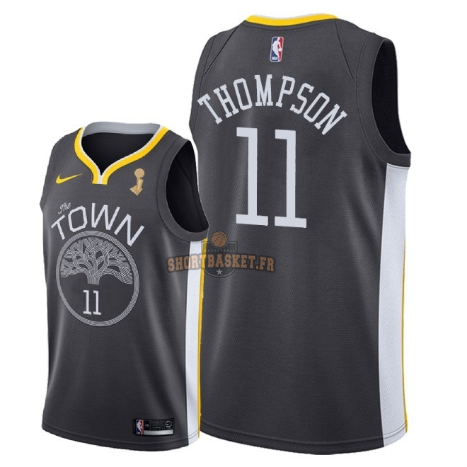 Nouveau Maillot NBA Golden State Warriors 2018 Final Champions NO.11 Klay Thompson Noir pas cher