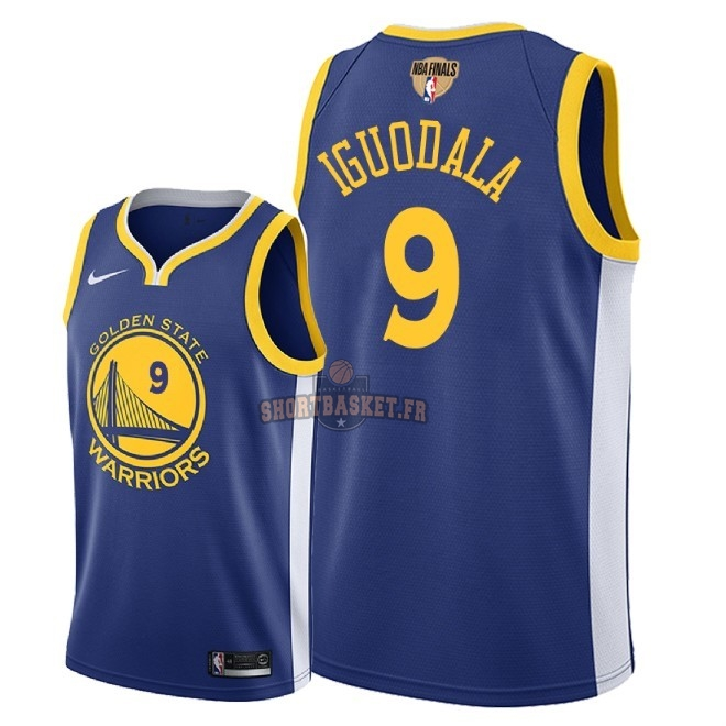 Nouveau Maillot NBA Golden State Warriors 2018 Final Champions NO.9 Andre Iguodala Bleu Icon Patch pas cher